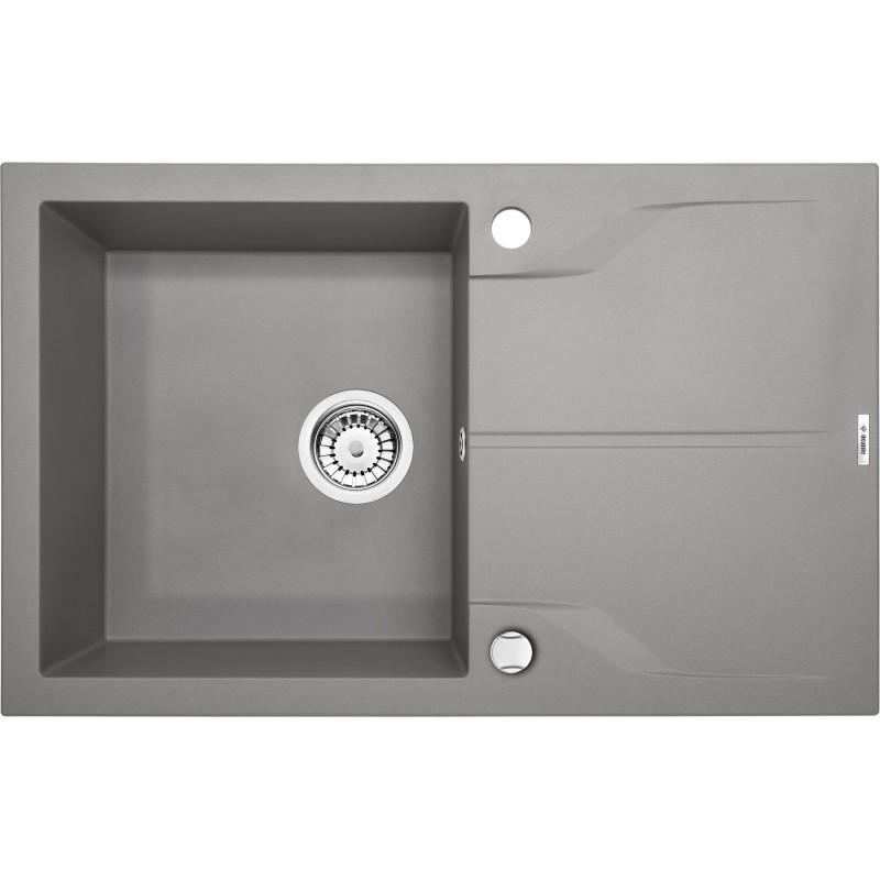 78cm x 49cm 1Becken Spüle mit Abtropffläche grau metallic Andante Flush Deante SpülenSpülen