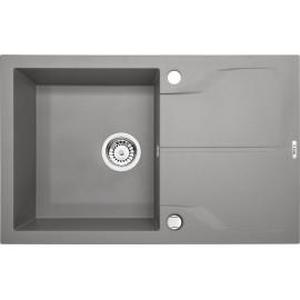 78cm x 49cm 1Becken Spüle mit Abtropffläche grau metallic Andante Flush Deante Spülen
