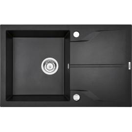 78cm x 49cm 1Becken Spüle mit Abtropffläche graphit Metallic Andante Flush Deante GranitGranit -19%