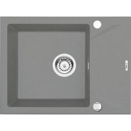 59cm 44cm 1Becken Spüle mit kurzer Abtropffläche Grau metallic Evora Deante GranitGranit -19%
