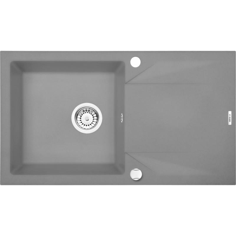 78cm x 44cm 1Becken Spüle mit Abtropffläche grau metallic Evora Deante SpülenSpülen
