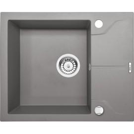 59cm x 49cm 1Becken Spüle mit kurzer Abtropffläche grau metallic Andante Deante GranitGranit -19%