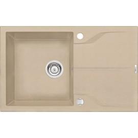 78cm x 49cm 1Becken Spüle mit Abtropffläche beige Andante Deante Spülen