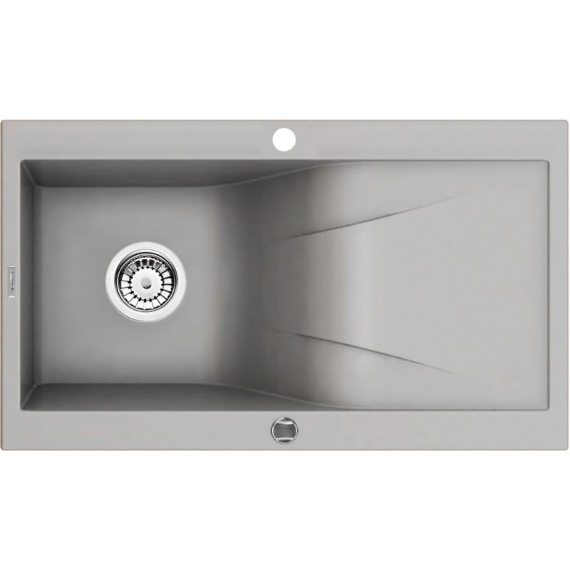 86cm x 50cm 1Becken Spüle mit Abtropffläche grau metallic Rapsodia Deante Spülen