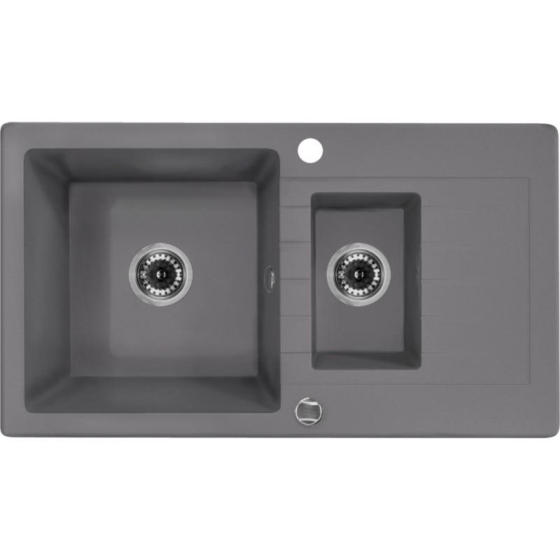 76cm x 44cm 1,5 Becken Spüle mit Abtropffläche grau metallic Zorba Deante GranitGranit -19%