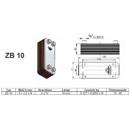 16-40 Platten ZB10 gelötete Plattenwärmetauscher Zilmet Zilmet HeizungHeizung