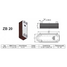 10-40 Platten ZB20 gelötete Plattenwärmetauscher Zilmet Zilmet Heizung