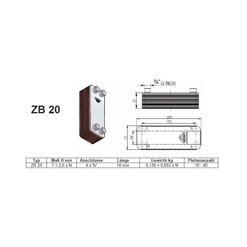 10-40 Platten ZB20 gelötete Plattenwärmetauscher Zilmet Zilmet HeizungHeizung