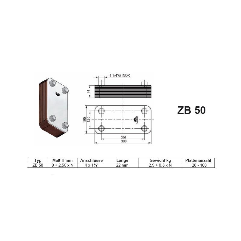 20-100 Platten ZB50 gelötete Plattenwärmetauscher Zilmet Zilmet HeizungHeizung