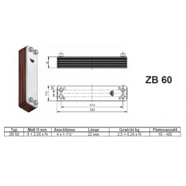 10-100 Platten ZBZ60 gelötete Plattenwärmetauscher Zilmet Zilmet Heizung