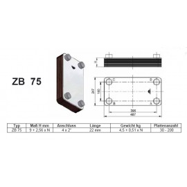 30- 150 Platten ZB-75 gelötete Plattenwärmetauscher Zilmet Zilmet HeizungHeizung