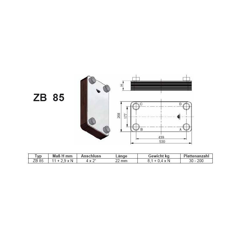 30- 200 Platten ZB-85 gelötete Plattenwärmetauscher mit Standkonsole und HebeösenZilmet Zilmet Heizung