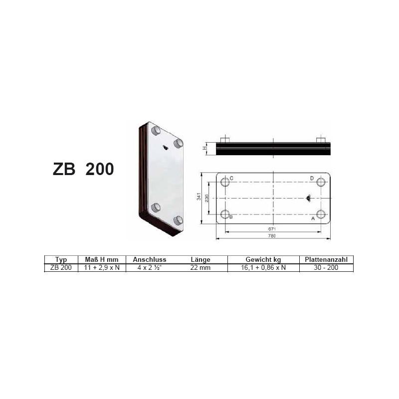 40- 200 Platten ZB-200 gelötete Plattenwärmetauscher mit Standkonsole und HebeösenZilmet Zilmet HeizungHeizung