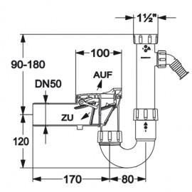 Rückstauverschluss DN50 mit Siphon und einem Geräteanschluss Haas Siphon und ZubehörSiphon und Zubehör