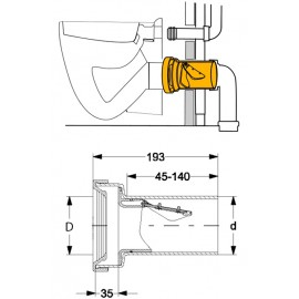 DN90 Fremdeinspülstopp,verschweibar,mit normgerechter Einschubtiefe von 35mm Haas Rohr-Anschlusstechnik für WC und ZubehörRoh...
