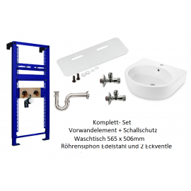 Vorwandelement+Schallschutz+Waschtisch+Röhrensiphon Edelstahl und 2 Eckventile Oli Unterputz-Spülkästen Elemente