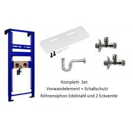 Vorwandelement+Schallschutz+Röhrensiphon Edelstahl und 2 Eckventile Oli Unterputz-Spülkästen Elemente