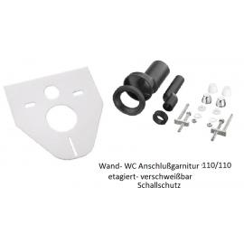 Wand-WC Anschlußgarnitur 110/110mm etagiert mit Schallschutz Haas Rohr-Anschlusstechnik für WC und Zubehör