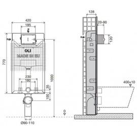 Vorwandelement zum Einmauerrn mit Drückerplatte 2 Mengen weiß Oli Unterputz-Spülkästen Elemente