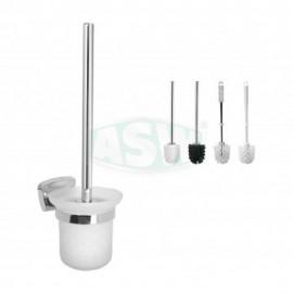 Toilettenbürstengarnitur Messing verchromt Opalglas rund verschiedene Ausführung Serie: 1000 ASW Toiletten- Papierhalter + Bü...