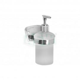 Flüssigseifenspender messsing verchromt, Opalglas Serie: 1000 ASW Seifenschale + Glashalter