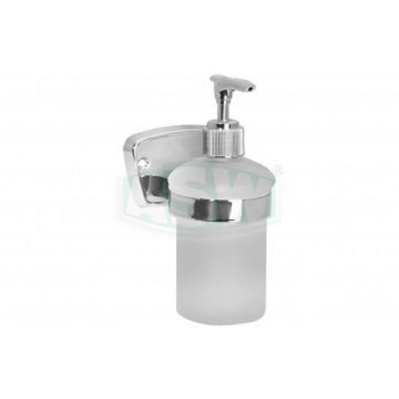 Flüssigseifenspender messsing verchromt, Opalglas Serie: 1000 ASW Seifenschale + GlashalterSeifenschale + Glashalter -10%