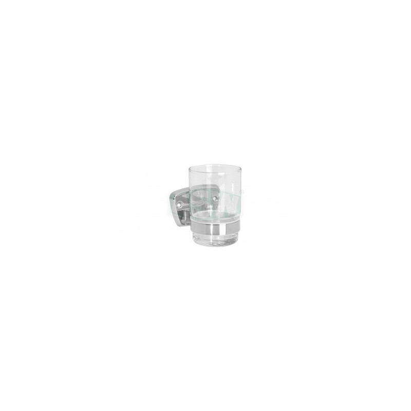 Glashalter Messing verchromt, Kristallglas Serie: 1000 ASW Seifenschale + GlashalterSeifenschale + Glashalter -10%