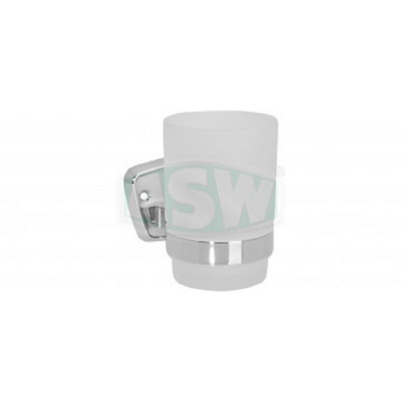 Glashalter Messing verchromt, Opalglas Serie: 1000 ASW Seifenschale + GlashalterSeifenschale + Glashalter -10%