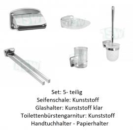 5- teiliges Set, Serie: 1000 ASW Toiletten- Papierhalter + Bürsten