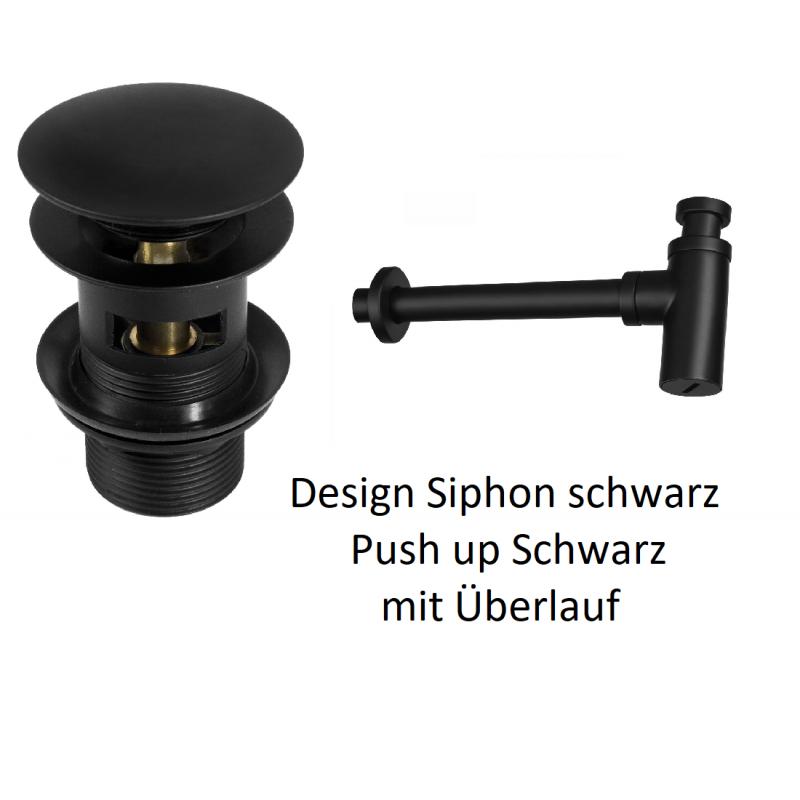 """Design Siphon 11/4"""" und Push up mit Überlauf 11/4"""" schwarz Deante SiphonSiphon -10%"""