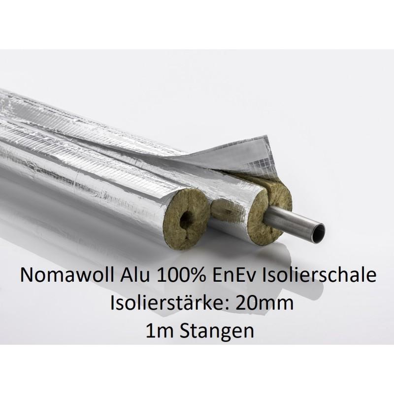 Nomawool Alu 100% EnEVRohrisolierung Steinwolle Isolierstärken 20 mm1m Stangen NMC Deutschland Steinwolle- Alu IsolierschaleS...