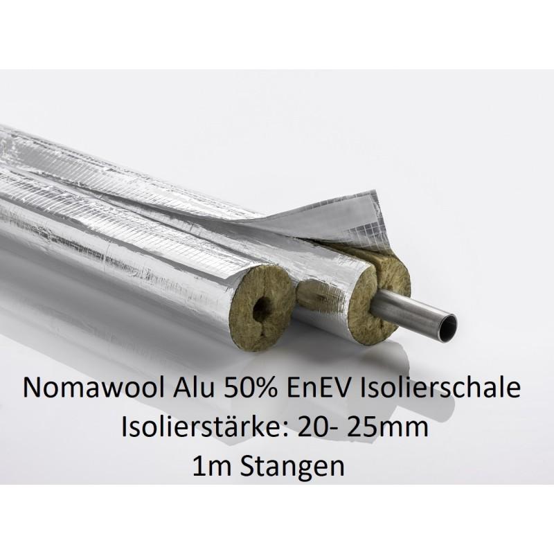 Nomawool Alu 50% EnEV Rohrisolierung Steinwolle Isolierstärken 20 +25mm1m Stangen NMC Deutschland Steinwolle- Alu Isolierscha...