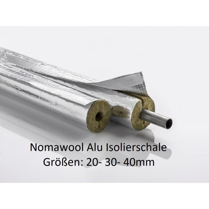 Nomawool Steinwolle-Isolierschale Isolierstärken von 20-30-40mm 1m Stangen NMC Deutschland Steinwolle- Alu IsolierschaleStein...