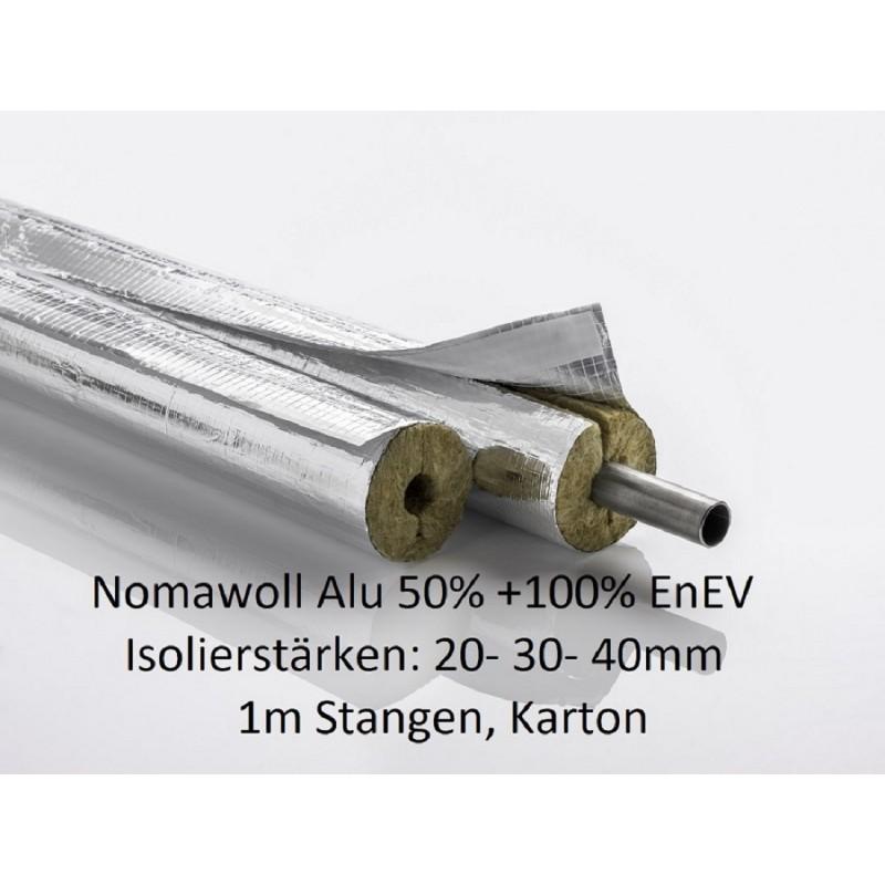 Nomawool Steinwolle-Isolierschale Isolierstärken von 20-30-40mm Karton 1m Stangen NMC Deutschland Steinwolle- Alu Isolierscha...