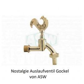 """Nostagie Auslaufventil Gockel poliert 1/2"""" Kugelhahn Wasserhahn Zapfhahn ASW Keller und GartenKeller und Garten -10%"""