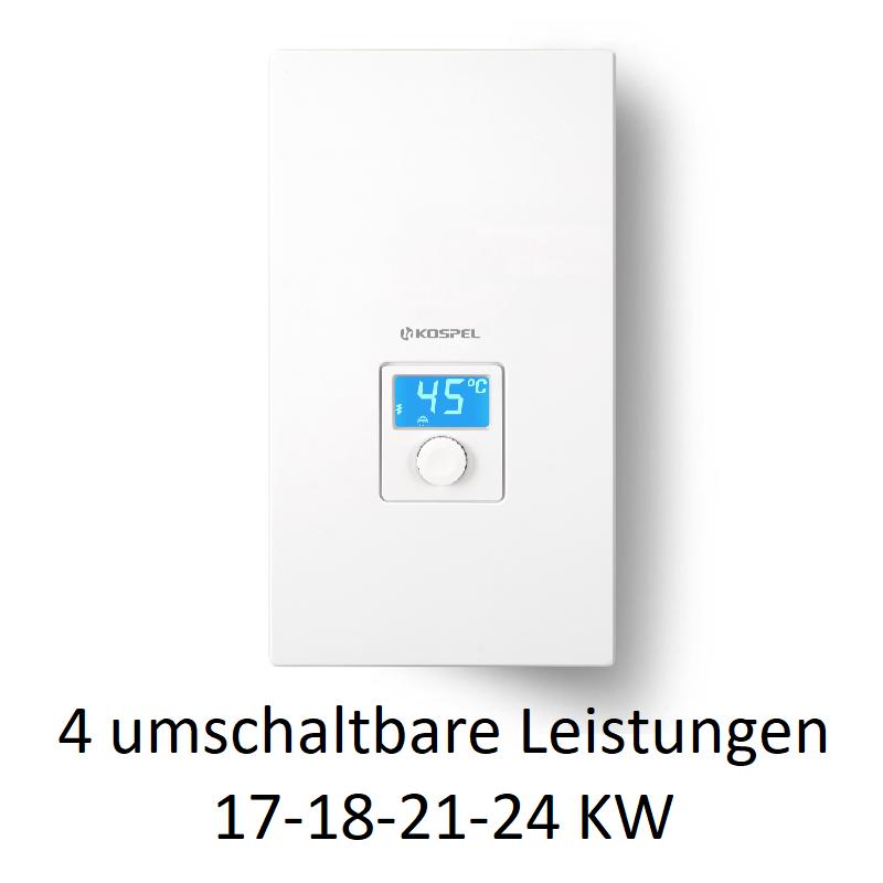 KDE5- 17/18/21/24 KW einstellbar electronic LCD Durchlauferhitzer mit elektronischer Steuerung und LCD Display Kospel Durchla...