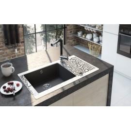 Spülenarmatur mit eckigen ausziehbarem Auslauf chrom/schwarz Serie: Aster Deante Küche