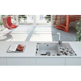 Einloch Spülenarmatur mit eckigen ausziehbarem Auslauf chrom/weiß Serie: Aster Deante Küche