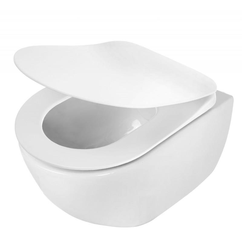 Tiefspül WC ohne Spülrand mit Deckel absenkautomatik slim Peonia Zero Deante BadkeramikBadkeramik