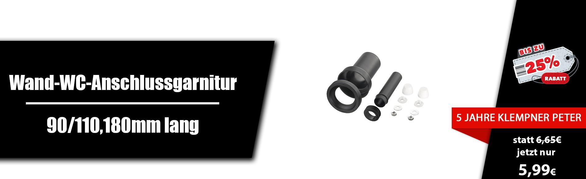 90/110/180mm Lang,- Wand- WC-Anschlussgarnitur